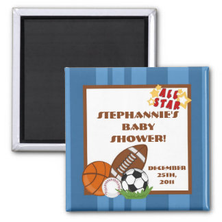 "{TBA} 2""x2"" All Star Blue Party Favor Magnet"