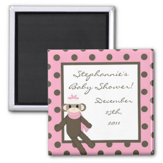 "{TBA} 2""x2"" Pink Sock Monkey Party Favor Magnet"