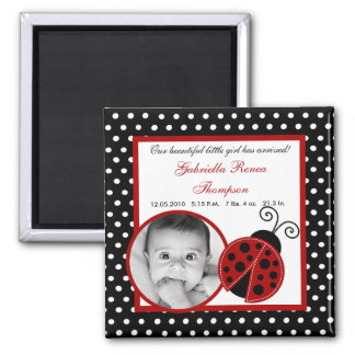 "{TBA} 2""x2"" Red Ladybug Announcement Magnet"