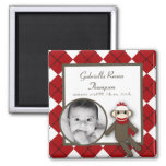 "{TBA} 2""x2"" Red Sock Monkey Announcement Magnet Refrigerator Magnets"