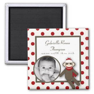 "{TBA} 2""x2"" Red Sock Monkey Announcement Magnet"
