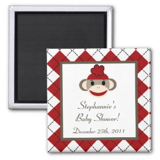 "{TBA} 2""x2"" Red Sock Monkey Party Favor Magnet"