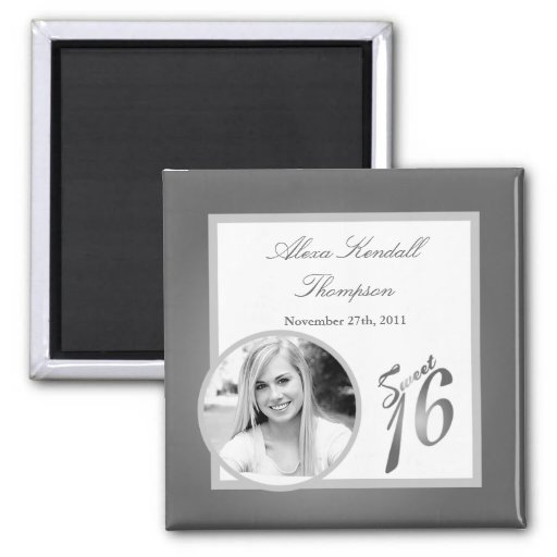 "{TBA} 2""x2"" Sweet 16 Silver Announcement Magnet Fridge Magnets"