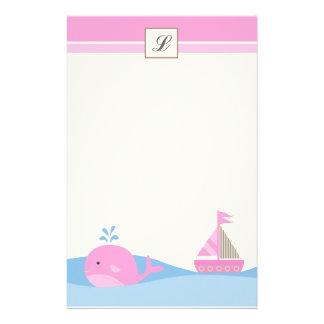 """{TBA} 5,5"""" x 8,5"""" ballena rosada inmóvil del barco Papelería De Diseño"""