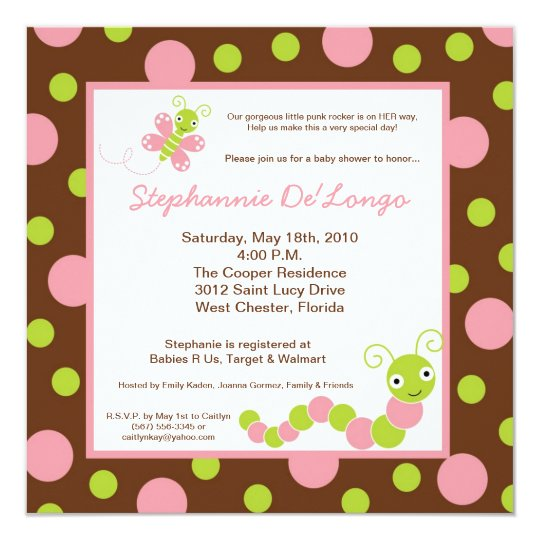 {TBA} 5x5 Spring Bug Butterfly Baby Shower Invite