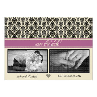 {TBA} 5X7 Baroque Lavender Two-Photo Save the Date Announcements