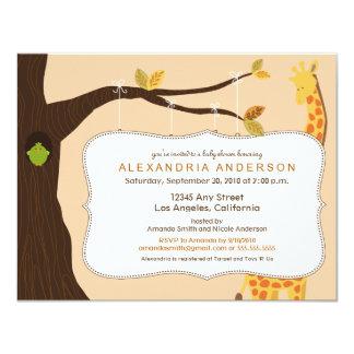 "{TBA} Adorable Baby Tree Baby Shower Invite: peach 4.25"" X 5.5"" Invitation Card"