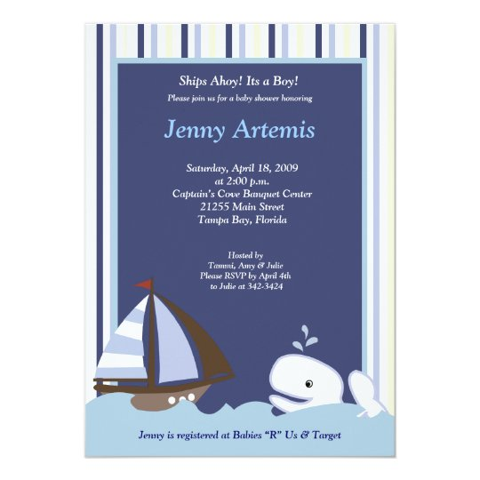 {TBA} Ahoy Mate Sailboat Boat Nautical Baby Shower Card