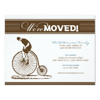 "{TBA} Antique Bicycle Moving Announcement (brown) 4.25"" X 5.5"" Invitation Card"