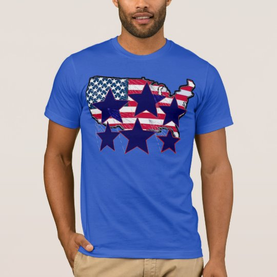 TBA AWARD Winner American Map Flag With Stars T-Shirt