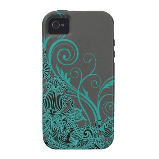 ::TBA:: Aztec Paisley designer teal charcoal iPhone 4 Cases