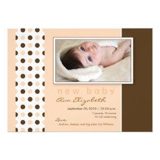 {TBA} Baby Birth Announcement Peach Polka Dots