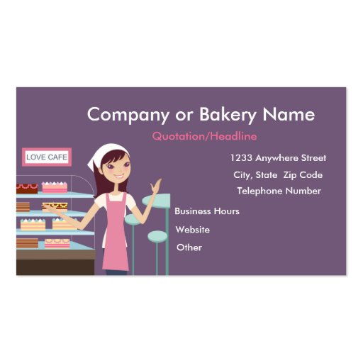 {TBA} Bakery/Pastry Shop #2 Business Card (front side)