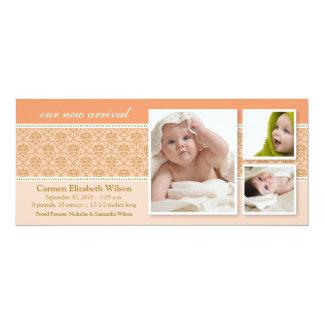 {TBA} Baroque 3-Photo Birth Announcement (peach)