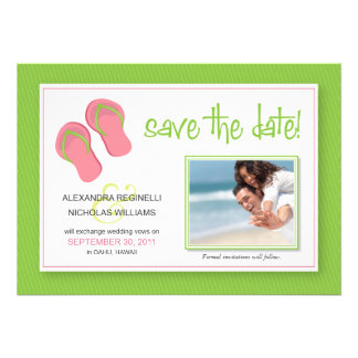 {TBA} Beach-Themed Save the Date (green) Custom Announcements