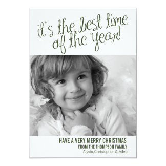 (TBA) Best Time-Christmas Holiday Photo Card green