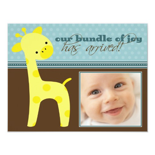 "{TBA} Bundle of Joy Giraffe Birth Announcement 4.25"" X 5.5"" Invitation Card"