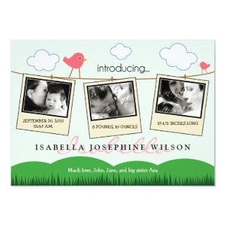 """{TBA} Clothesline Polaroids Birth Announcement 5"""" X 7"""" Invitation Card"""