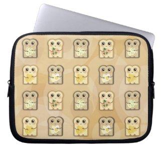 TBA_Cute Little Toasties pattern laptop sleeve
