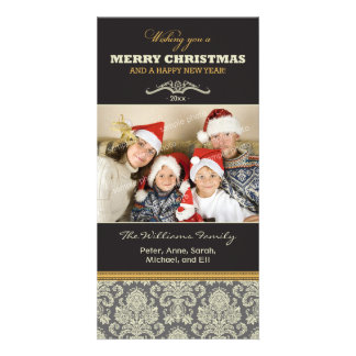 {TBA} Damask Pattern Family Holiday Photocard Card