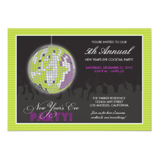 {TBA} Disco Ball New Year's Eve Party (lime) 5x7 Paper Invitation Card