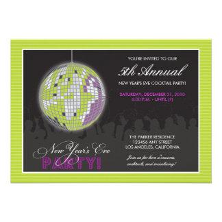 {TBA} Disco Ball New Year's Eve Party (lime) Custom Invitation