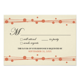 {TBA} Dots & Straw RSVP Card (ivory/coral) Custom Announcement