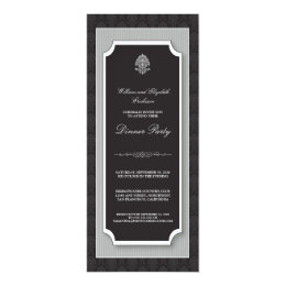 {TBA} Elegant Damask Dinner Party Invite (silver)