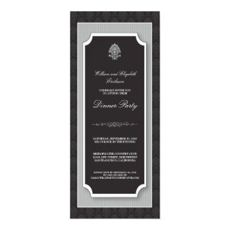 {TBA} Elegant Damask Dinner Party Invite (silver)