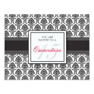 """{TBA} ENGLISH Black Damask Quinceanera Invitation 4.25"""" X 5.5"""" Invitation Card"""