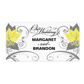 :: TBA:: Etiqueta floral abstracta del vino amaril Etiquetas De Envío
