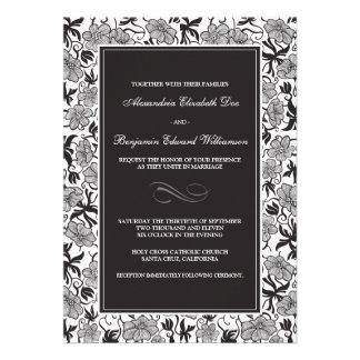 {TBA} Fancy Floral Ebony Wedding Invitation