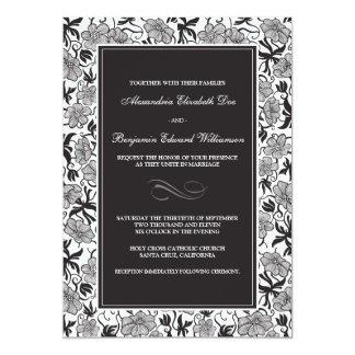 """{TBA} Fancy Floral Ebony Wedding Invitation 5"""" X 7"""" Invitation Card"""