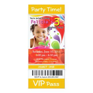 """::: TBA::: Fiesta de la foto del boleto del VIP de Invitación 4"""" X 9.25"""""""