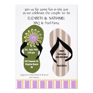 (TBA)Flippin Out Couples Wedding Shower Pool Party 5.5x7.5 Paper Invitation Card