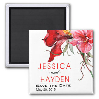 ::TBA:: Flora Botanica Bold Watercolor Flowers 2 Inch Square Magnet