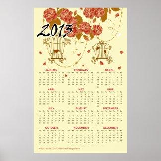 "::TBA:: Flowers & Birdcages 2013 Calendar 18""x28"" Posters"