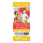 :::TBA::: Fun Kids VIP Ticket Photo Party (yellow) 4x9.25 Paper Invitation Card