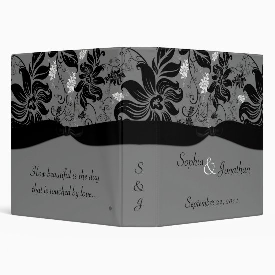 TBA - Gray and Black Floral Wedding Binder
