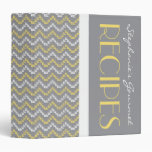 TBA Gray and Yellow Diamond Zigzag Chevrons Recipe 3 Ring Binder
