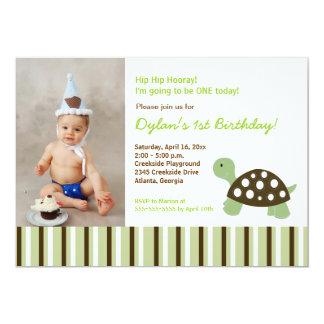 {TBA} Green Mod Dot Turtle Birthday Invitation 5x7