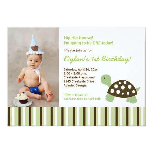 {TBA} Green Mod Dot Turtle Birthday Invitation 5x7