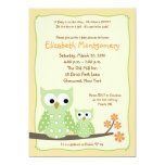 {TBA}HOOT OWLS Green Neutral Baby Shower 5x7 Personalized Announcement