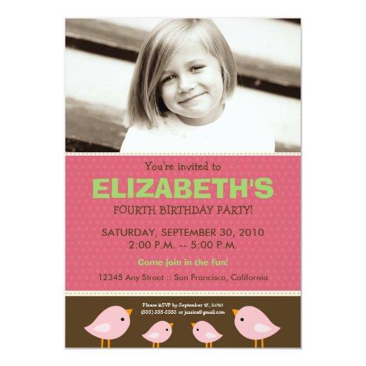 {TBA} Little Birdie Girl's Pink Birthday 5x7 Paper Invitation Card