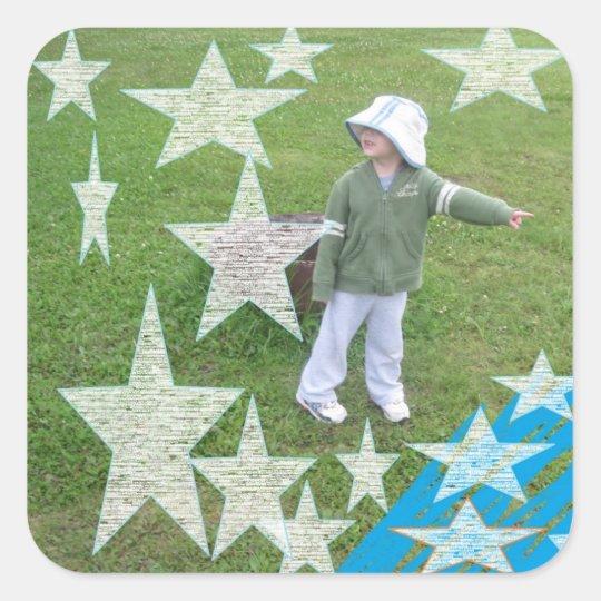 TBA Little Boy Child Cute Play Park Square Sticker