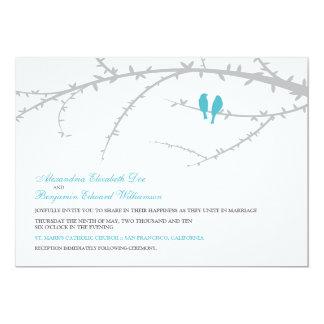 "{TBA} Love Birds Wedding Invitation (aqua) 5"" X 7"" Invitation Card"