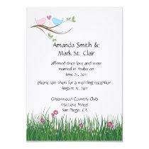 "TBA - Lovebirds Wedding Reception Invitation 5"" X 7"" Invitation Card"