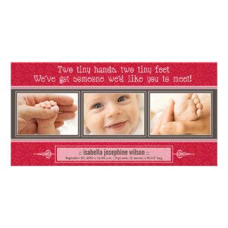 {TBA} Manos minúsculas, pies minúsculos de invitac Tarjetas Con Fotos Personalizadas
