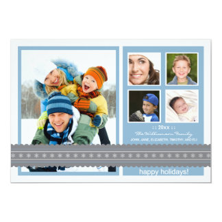 {TBA} Modern Ribbon Custom Holiday Card (blue) Personalized Invitations