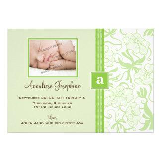 {TBA} Monogram Ribbon Baby Announcement (lime)